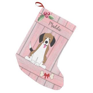 Monogram för staket för gullig Beagleflickahund Liten Julstrumpa