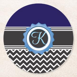 Monogram för svart för blåttsparresafir underlägg papper rund