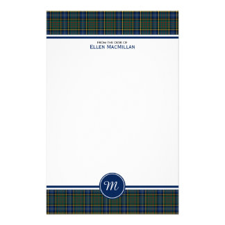 Monogram för Tartan för MacMillan klanjakt Brevpapper