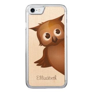 Monogram för uggla för tecknad för kallt gulligt carved iPhone 7 skal