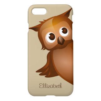 Monogram för uggla för tecknad för kallt gulligt iPhone 7 skal