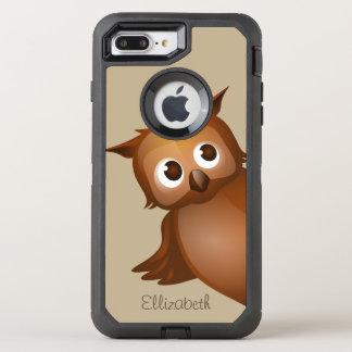 Monogram för uggla för tecknad för kallt gulligt OtterBox defender iPhone 7 plus skal