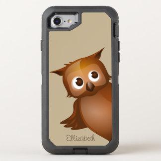 Monogram för uggla för tecknad för kallt gulligt OtterBox defender iPhone 7 skal