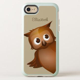 Monogram för uggla för tecknad för kallt gulligt OtterBox symmetry iPhone 7 skal