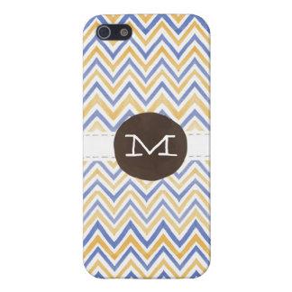 Monogram för vattenfärgsparre (marin/senap) iPhone 5 cases