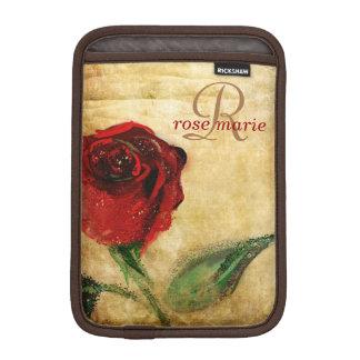 Monogram för vintageröd ros flickaktigt