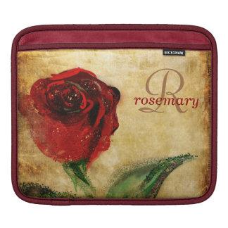 Monogram för vintageröd ros flickaktigt iPad sleeve