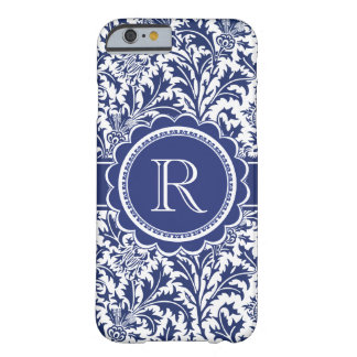 Monogram för William Morris blåttThistle Barely There iPhone 6 Fodral