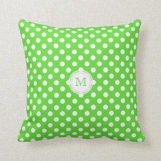 Monogram: Grönt och vit Polka-pricker kudder Kudde