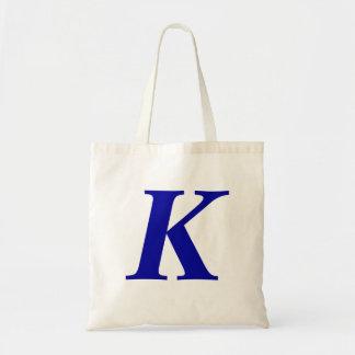 Monogram K i initial toto för blåttanpassningsbar Budget Tygkasse