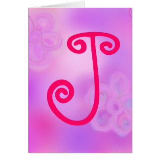 Monogram Notecard för brev J OBS Kort