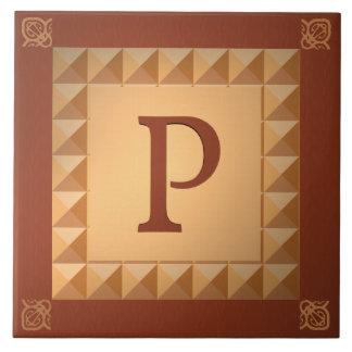 Monogram P: Marquetryen verkställer initialt och m Kakelplatta
