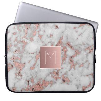 monogram på marmorstenen laptop sleeve