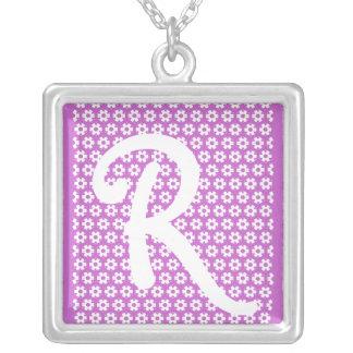 Monogram R Silverpläterat Halsband