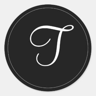 "MONOGRAM: Svartvit Monogrammall ""T "", Runt Klistermärke"