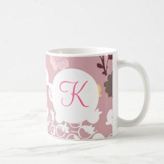 Monogramanpassningsbar skrivev ut rosa blommor för vit mugg