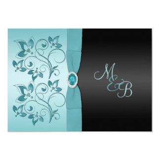MonogramAqua, svart blom- bröllopinbjudan 12,7 X 17,8 Cm Inbjudningskort