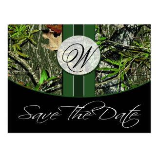 MonogramCamo för jägare grön bröllop spara datum Vykort