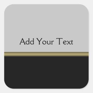 Monogramelegans i svart grå färgguld fyrkantigt klistermärke