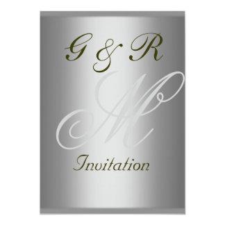 Monogramelegant och enkel bröllopinbjudan 12,7 x 17,8 cm inbjudningskort