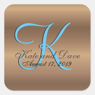 Monogramen 3d brons bröllopfavör fyrkantigt klistermärke