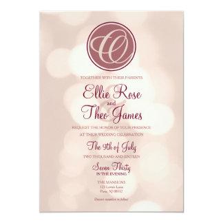 Monogramen Bokeh tänder bröllopinbjudan 12,7 X 17,8 Cm Inbjudningskort