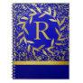 Monogramen cirklar av guld- glitter för lövkran anteckningsböcker
