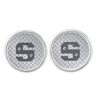 Monogramen Diamondplate stålsätter LookCufflinks Manschettknappar