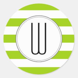 Monogramen görar randig klistermärken - grönt
