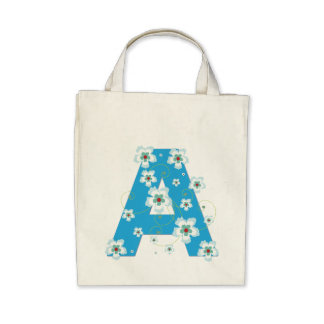 Monogramen märka med sina initialer blom- blommig  tote bag