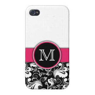 Monogramen märka med sina initialer eleganta blom- iPhone 4 fodraler