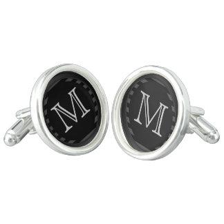Monogramen skräddarsy svart och grånar randar cufflinks