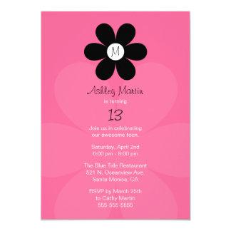 Monogramen tonåring flickafödelsedagsfest inbjudan