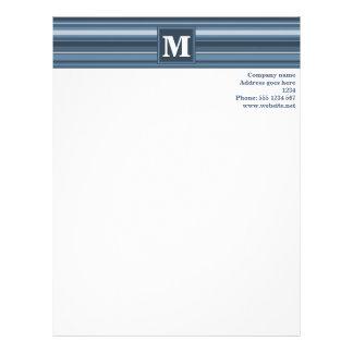 Monogramgrå färg-blått randar brevhuvud