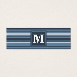 Monogramgrå färg-blått randar litet visitkort
