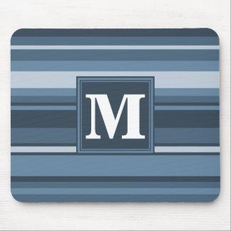 Monogramgrå färg-blått randar musmatta