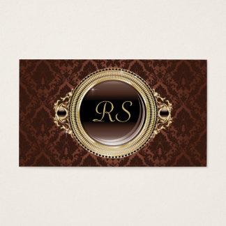 Monogramguld och brunt för elegant vintage blom- visitkort
