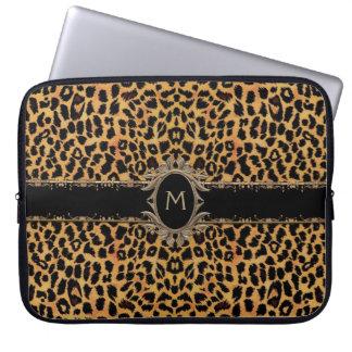 Monogramklassikerleoparden flår den djura laptop laptopfodral