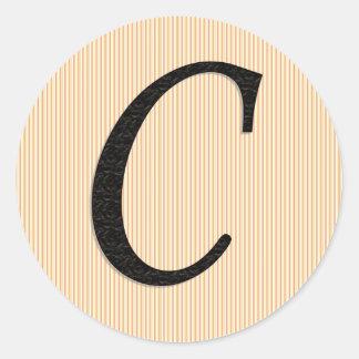Monogramklistermärkear för brev C Runt Klistermärke