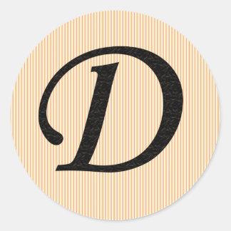 Monogramklistermärkear för brev D Runt Klistermärke