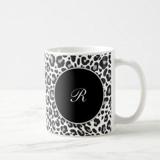 MonogramLeopardkaffe koppar Vit Mugg