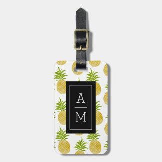 Monogrammed bagagemärkre för Posh ananas Bagagebricka