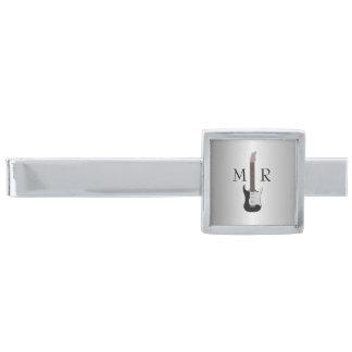 Monogrammed elektrisk gitarr för silver silverpläterad slipsnål
