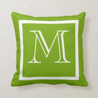 Monogrammed för grön realitet för vår kudder kudde