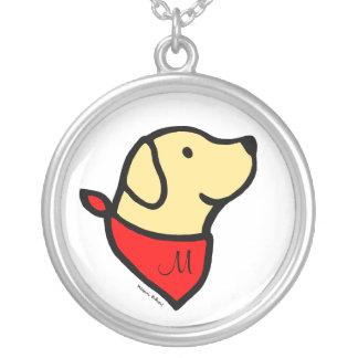 Monogrammed gul Labrador & Scarftecknad Silverpläterat Halsband
