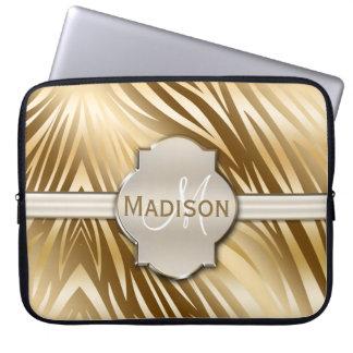 Monogrammed guld- zebra tryckmönster laptop sleeve