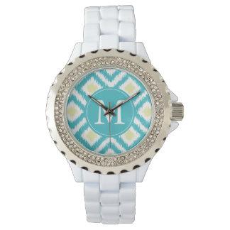 Monogrammed Ikat för Aquacitrondiamant mönster Armbandsur