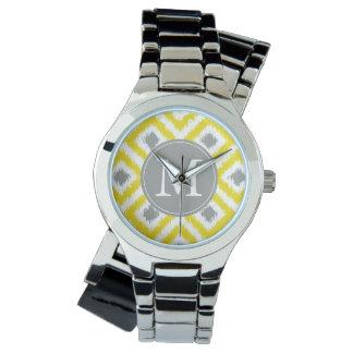 Monogrammed Ikat för gultgråttdiamant mönster Armbandsur