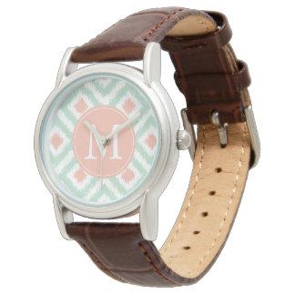 Monogrammed Ikat för Mintkoralldiamant mönster Armbandsur