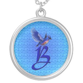 Monogrammed initialt elegantt blåsångarehalsband silverpläterat halsband